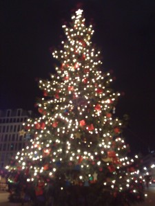 Bad photo of a nice looking Christmas tree at the Brandenburg Gate